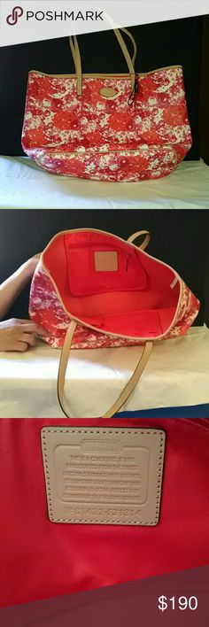 Coach Floral tote. Never used. Great summer bag ☀️ Very nice spring/summer tote. Never used. Can you for your laptop if you like or a cute over night bag. Coach Bags Totes