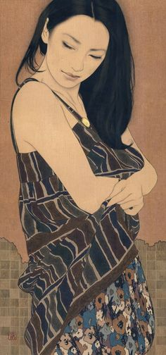 """Yasunari Ikena is a 1965-born Japanese artist. His paintings depict beautiful women, whose expressions and postures suggest a dreamy atmosphere. Ikenaga's paintings also showcase exquisite textile pattern designs. His subjects are always women of modern times, but at the same time, the Nihonga painting style reflects ancient Japanese traditions, which gives his works a timeless feel. He creates his art by dropping Japanese paints into the canvas that he calls """"linen cloth"""", with a Menso…"""