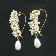White Ghungroo Pearl Drop Earrings