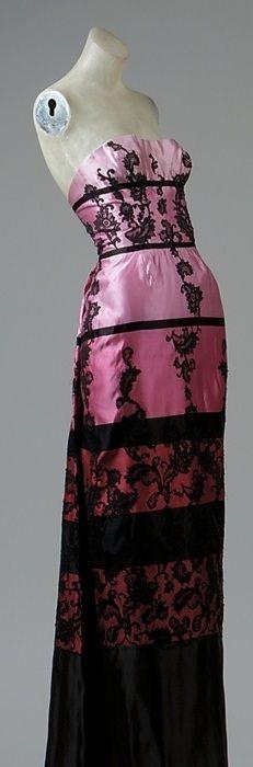 Evening ensemble, fall 1952 Emilio Schuberth (Italian, born 1904) Purple, pink, and black striped silk satin with black cotton lace appliqué