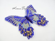 Beautiful beaded butterfly- Blue seed beads butterfly- seed beaded butterfly #beading #jewelryinspo #cbloggers #beadwork