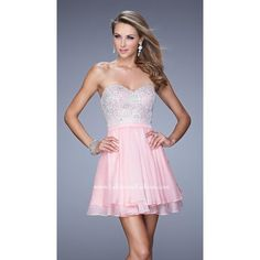 Cotton Candy Pink La Femme 21284 Short Beaded Homecoming Dress ($179) via Polyvore featuring dresses, cotton dresses, short dresses, beaded homecoming dresses, pink day dress and cotton day dresses