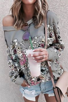 Floral Print Paneled Crew Neck Long Sleeves Casual Sweatshirt - Diorer One Shoulder Shirt, Daisy, Thing 1, Casual Tops, Casual Wear, Online Shopping Clothes, Online Clothes, Loose Tops, Types Of Sleeves