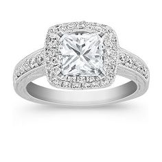 Halo Vintage Diamond Engagement Ring with pave setting with Princess Cut Diamond