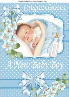 Sweet Dreams Baby Boy with his bottle and flowers A4 on Craftsuprint - Add To Basket!
