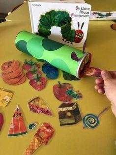 The little caterpillar Nimmersatt: from a chip packaging material for a Mi - Basteln Frühling Kinder - Spielzeug Toddler Activities, Preschool Activities, Chenille Affamée, Toddler Crafts, Crafts For Kids, Hungry Caterpillar Craft, Chip Packaging, Egg Carton Crafts, Preschool Toys