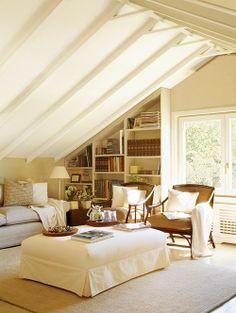 Bonus room built in bookshelves