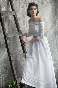 Свадебное платье из матовой ткани