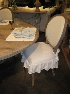Linen  Chair Seat Shabby French Chic at beekeeperscottage.com $79 for desk chair