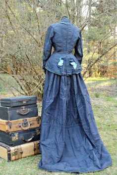 Antique Day Dress1900s Blue Silk Historical by PoetryofObjects, $325.00