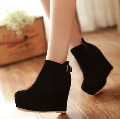 Elegant Women Buckle Suede Platform Wedges High Heels Side Zipper Ankle Boots in Clothing, Shoes & Accessories, Women's Shoes, Boots Leather Heeled Boots, Wedge Ankle Boots, High Heel Boots, Shoe Boots, Women's Boots, Cute Ankle Boots, Ankle Shoes, Platform High Heels, Fashion Heels