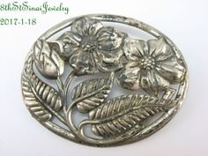 Estate DANECRAFT Oval Sterling Silver 925 Open Work Floral/Flower Pin Brooch #Danecraft
