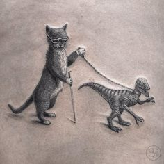A blind cat walking his guiding-velociraptor, yeah that's right :)