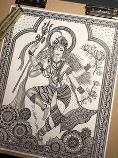 62 Ideas for design print illustration etsy Shiva Art, Hindu Art, Krishna Art, Krishna Drawing, Shiva Shakti, Radhe Krishna, Madhubani Art, Madhubani Painting, Ganesha Painting