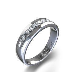 Engagement Ring Diamond Band With Single Round Diamond 57