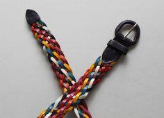 Vintage Colorful Braided Genuine Leather Belt 1980s | Etsy