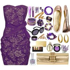 Detailed purple dress with all the fixings