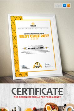 Certificate Design Template for Best Chef Fast Food and Restaurant Certificate Template #Certificate #Template #Design #Certificate