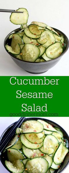This is a simple Cucumber Sesame Salad. Rice wine vinegar, soy sauce and sesame oil mix with sugar and crushed red pepper flakes for a fresh crunchy taste.