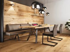 Seating with solid wood table- Sitzgruppe mit Massivholztisch Seating with solid wood table - Square Kitchen Tables, Rustic Kitchen Tables, Kitchen Seating, Kitchen Benches, Modern Dining Table, Dining Table Lighting, Table Lamp Wood, Solid Wood Table, Dining Sofa