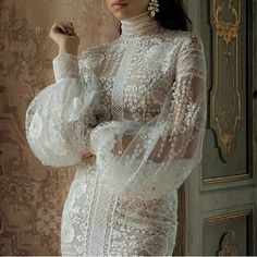 ideas for haute couture bridal gowns brides Turtleneck Wedding Dress, Wedding Dress Sleeves, Long Sleeve Wedding, Best Wedding Dresses, Bridal Dresses, Wedding Gowns, Lace Dress, Dresses With Sleeves, Wedding Hijab