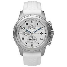 Fossil Men's FS4611 White Rubber Quartz Watch with Silver Dial Fossil. $102.00. Quartz Movement. 45mm Case Diameter. Mineral Crystal. 30 Meters / 100 Feet / 3 ATM Water Resistant