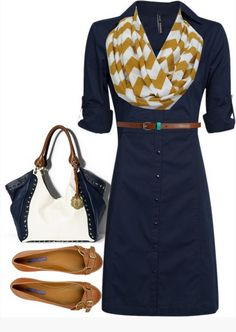 Blue shirt dress outfit idea with vintage brown flats