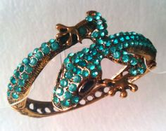Vintage bracelet lizard Vintage Jewelry Gift for her Wife jewelry gift Girlfriend gift Daughter gift Crystal bracelet Turquoise bracelet