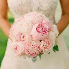 A romantic bouquet filled with pink peonies.Photo by: Elizabeth Messina on Kiss The Groom via Lover.ly