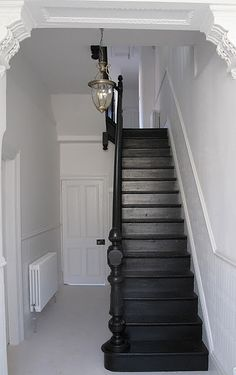 Explore The Best 24 Painted Stairs Ideas for Your New Home : 27 Painted Staircase Ideas Which Make Your Stairs Look New Tags: painted staircase, painted plywood stairs, painted stairs black, painted stairs ideas pictures Black Staircase, Staircase Design, Staircase Ideas, Black Banister, Staircase Remodel, Hallway Ideas, Painted Staircases, Staircase Painting, Flur Design