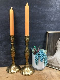 Brass Candlesticks Pair Pillar Candle Stick Holders Vintage Romantic Table Decor Lovely swirled design make these a graceful pair! Candles not included. Vintage Candle Holders, Candlestick Holders, Candlesticks, Victorian Rooms, Romantic Table, Vintage Cookies, Hexagon Shape, Rustic Farmhouse Decor, Basket Weaving