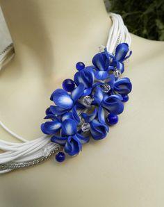 Irises Bib necklace  Blue white necklace  Handmade by insoujewelry, $70.00