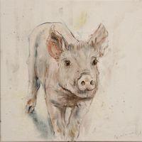 Nanouk Weijnen - reproducties - beeldend kunstenares - tevens olieverf schilderijen en bronzen beelden van dieren - Kinder portret in olieverf - Baby schilderijen Pig Drawing, Farm Animals, Cow, Moose Art, Drawings, Artist, Pigs, Paintings, Inspiration
