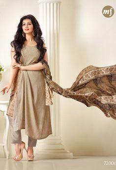 Georgette Cream Salwar Kameez With Embroidery Work 35389