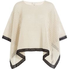 Zeus + Dione Knit Cotton Poncho (€460) via Polyvore featuring outerwear, beige und white poncho