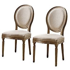 image of Shiraz Linen Oval Back Chairs (Set of 2)