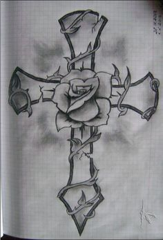 Cross And Rose Drawing by Ildar Cross Tattoo Designs, Tattoo Design Drawings, Pencil Art Drawings, Art Drawings Sketches, Tattoo Sketches, Badass Drawings, Rose Drawing Tattoo, Bild Tattoos, Body Art Tattoos