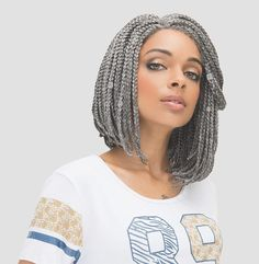 Hair By : Janet Collection You can also get your bob on a box braid too, the cute dark grey wig is just one among many colours you can try from the janet collection bob braid wig.