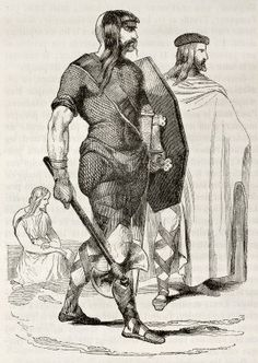 Frankish costumes in 4th century. Created by Wattier, published on Magasin Pittoresque, Paris, 1842