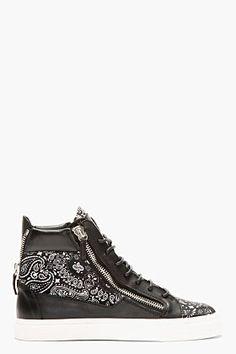 GIUSEPPE ZANOTTI Black Paisley High-Top Sneakers #MensFashion #Sneakers