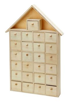 With 25 pull-out storage drawers, this unfinished wood house makes the perfect DIY advent calendar. Paint each drawer with numbers and fill with small candy or trinkets. Or, decorate this wood house a Wooden House Advent Calendar, Diy Advent Calendar, Christmas Crafts For Adults, 25 Days Of Christmas, Christmas Decor, Christmas Ideas, Calendar Home, Unfinished Wood, Wooden Crafts