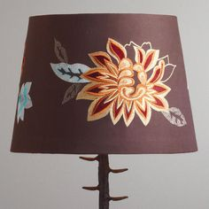 One of my favorite discoveries at WorldMarket.com: Brown Embroidered Flower Table Lamp Shade