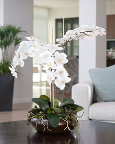 Authentically detailed stems bend under the weight of large white phalaenopsis blooms... they not only look fresh, but feel fresh as well. Tied to natural bamboo supports, they create this realistic orchid planting. Succulent sedum plants hide among air roots under the phalaenopsis foliage accenting the antique bronze fiberglass bowl. Guaranteed to make a dramatic focal statement in any room.