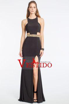 2016 vestidos de noche de la cucharada de Spandex con rebordear y de hendidura Negro