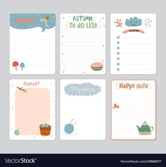 Cute Daily Calendar and To Do List Template. Note Paper and Stickers. Printable Paper, Printable Stickers, Printable Scrapbook Paper, Journal Stickers, Planner Stickers, Memo Notepad, List Template, Schedule Templates, Notes Template