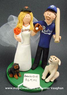 custom wedding cake toppers: San Francisco Giants Bride Marries San Diego Padres Groom - Wedding Cake Topper