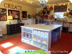 Craft table Walmart shelves, topped with hollow core door from Lowes Scrapbook Room, Sewing Rooms, Room Organization, Craft Table, Home Crafts, Walmart Shelves, Space Crafts, Hollow Core Doors, Craft Room Design