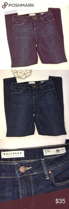 """Bullhead mid rise skinniest size 27 denim jeans Bullhead Denim Co. mid rise skinniest size 27 denim jeans from PacSun. Excellent condition, never worn, new without tags. Smoke free home. (A27)  Measures approximately: Waist 15-1/2"""" Rise 9"""" Inseam 28-1/2"""" Length 38"""" Cuff width 4-7/8"""" Bullhead Jeans Skinny"""