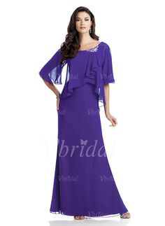 Mother of the Bride Dresses - $139.99 - Sheath/Column Scoop Neck Floor-Length Chiffon Mother of the Bride Dress With Ruffle Beading Cascading Ruffles (00805008517)