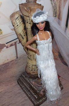 "OOAK ""My Maria"" 1920's Beaded Flapper Wedding Gown & Cloche Veil. Handmade Barbie Wedding Gown. Handmade Silkstone Clothes. Wedding Dress"